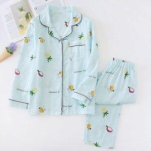Image 2 - Fashion striped pajama sets women 2019 summer 100% gauze cotton long sleeve casual sleepwear Fresh pyjamas for women