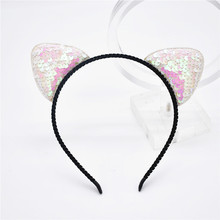 11colors of fashion can be heard hairband girl sexy sequins cat ears cat hair accessories for women of the party  1pcs