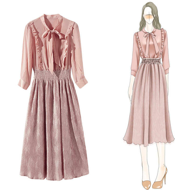 New Chiffon Midi Dress Skinny Korean Dress Bohemian 2019 Elegant Women