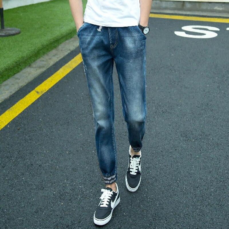 2016 Casual Jeans Men High Quality Cotton Men s Jeans Blue Pencil Pants Letter Printing Balmai