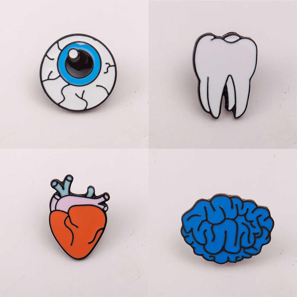Elegan 1x Kartun Organ Tubuh Manusia Korsase Bros Otak Mata Gigi Jantung Bros Pin Lencana untuk Pesta