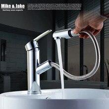 Salle de bain Pull out bassin robinet salle de bains robinet d'eau avec pulvérisateur tête de douche chrome pull down bassin mélangeur