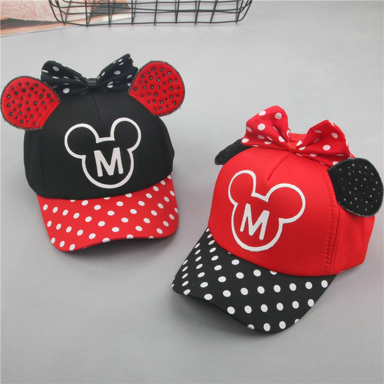 2018 new baby hats spring and summer 1-6 years old cotton childrens baseball caps polka dot bow hat outdoor leisure cap beanies