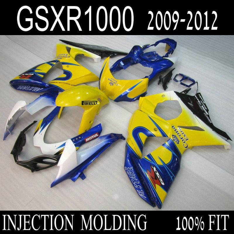 Injection ABS fairing kit for SUZUKI GSXR 1000 2009 2010 2011 2012 blue yellow Corona bodywork fairings set K9 GSXR1000 09 10 12 injection mold fairing kit for suzuki gsxr1000 09 10 gsx r gsxr 1000 k9 2009 2010 fashion white fairings set 7gifts sz07