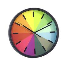 10 Inch Colorful Rainbow Kids Wall Clock Silent Non Ticking Decorative Round Wall Battery Operated Hanging Clock for Home Decor(China)