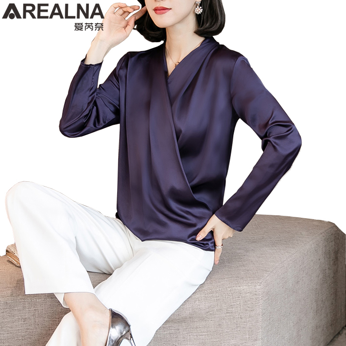 Women's Faux Silk Chiffon   Blouse     Shirt   Long Sleeve   Blouses   Woman Fashion 2019 Plus Size Clothing V-neck Womens Tops and   Blouses