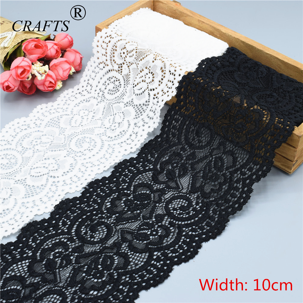 10cm Wide Beautiful Milky White And Black Stretch Lace Ribbon 1 Yard Decorative DIY Sewing Underwear Dress