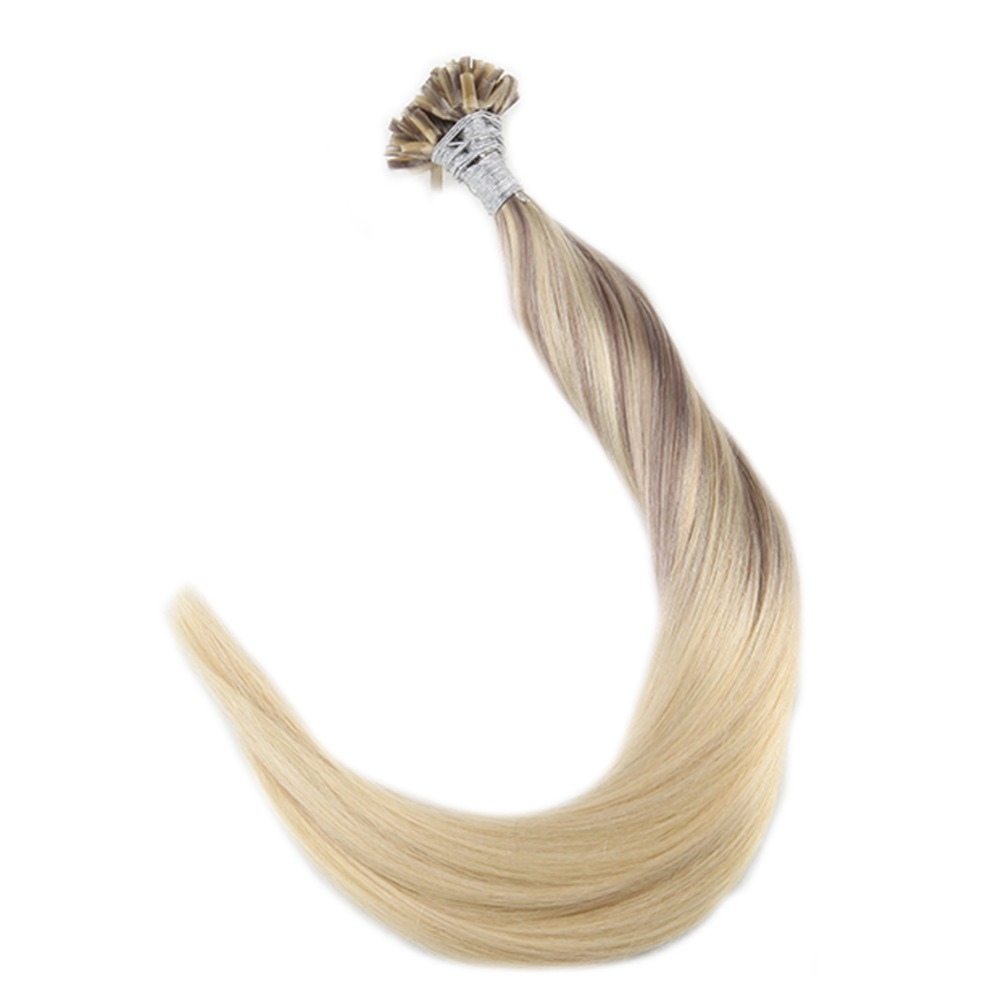 Full Shine 100% Remy U Tip Hair Extensions Color #18 Fading To #22 And #60 1g/Strand 50g U Tip Hair Keratin Hair Nail Tip Hair