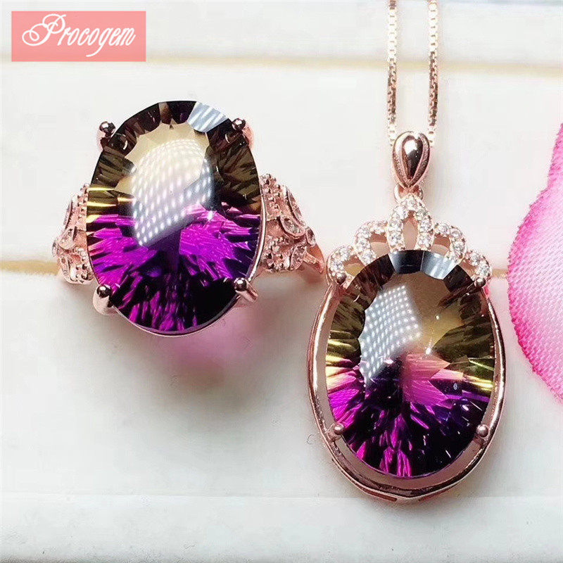 Trendy Ametrine jewelry sets for Women 13x18mm big gemstone Necklace/Ring 925Sterling silver 18K Rose gold plated wholesale #101
