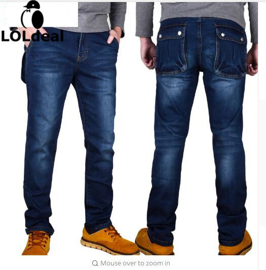 Autumn and winter high elastic jeans trousers Slim Straight thin section multi-pocket tooling big yards elastic feet