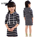 V-TREE Girls Dress Spring Striped Full Sleeve Dress For Teenagers Kids School Girls Dress Casual Clothes For Children 8 10 12 Y