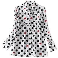 SALE 100 Silk Spring Women Shirt Polka Dot Full Sleeve Turn Down Collar Bow Shirt Office