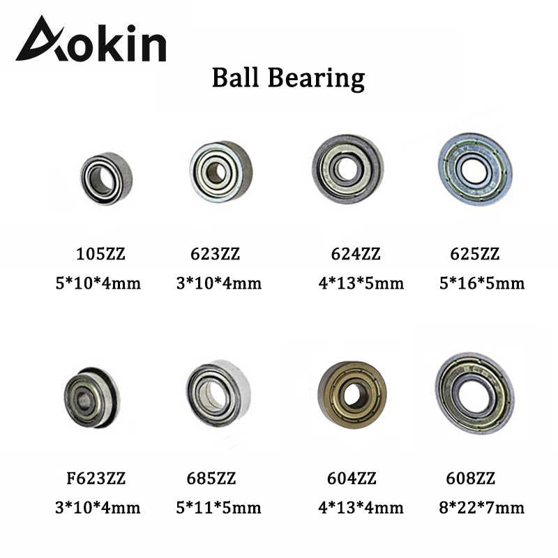 Aokin 10pcs Double SHIELDED Miniature Deep Groove BALL BEARING แถวเดียว 608ZZ 105ZZ 623ZZ 624ZZ 625ZZ 685ZZ F623ZZ 604ZZ
