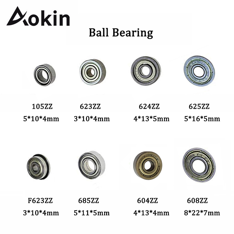 Aokin 10pcs Double Shielded Miniature Deep Groove Ball Bearing Steel Single Row 608ZZ 105ZZ 623ZZ 624ZZ 625ZZ 685ZZ F623ZZ 604ZZ