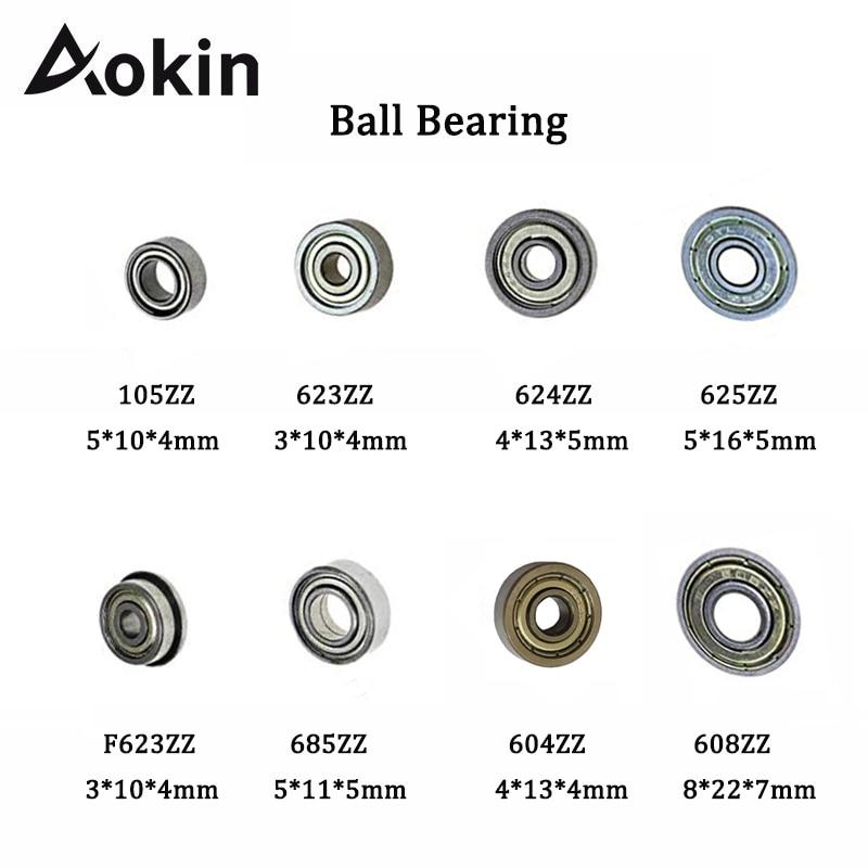 Aokin 10pcs Double Shielded Miniature Deep Groove Ball Bearing Steel Single Row 608ZZ 105ZZ 623ZZ 624ZZ 625ZZ 685ZZ F623ZZ 604ZZ
