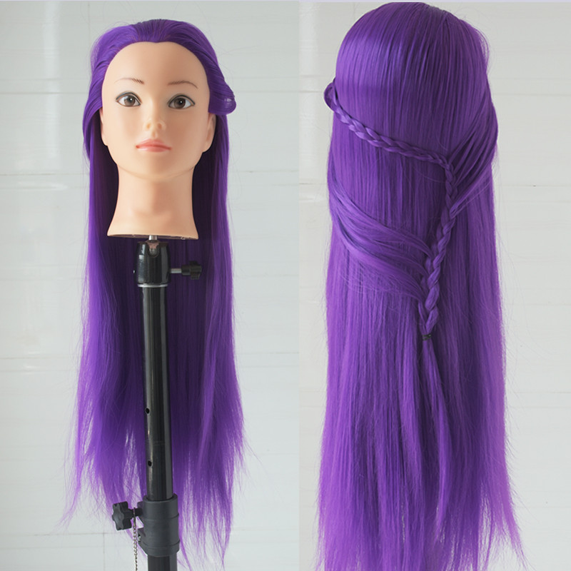 Free Shipping Purple Hair Mannequin Wig Head Hairdressing Model Hairstyle Training Manikin Professional Styling Dolls