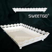 SWEETGO White Cupcake Tray Metal Iron Rectangle Plate For Cake Tools Backing Accessory Display Plate For