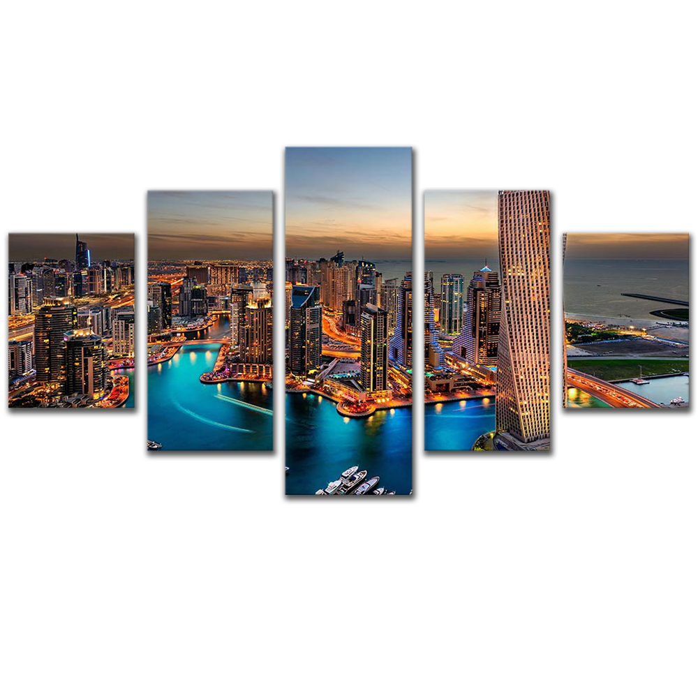 Unframed Canvas Painting City Night Scenery Building Bay Photo Picture Prints Wall Picture For Living Room Wall Art Decoration
