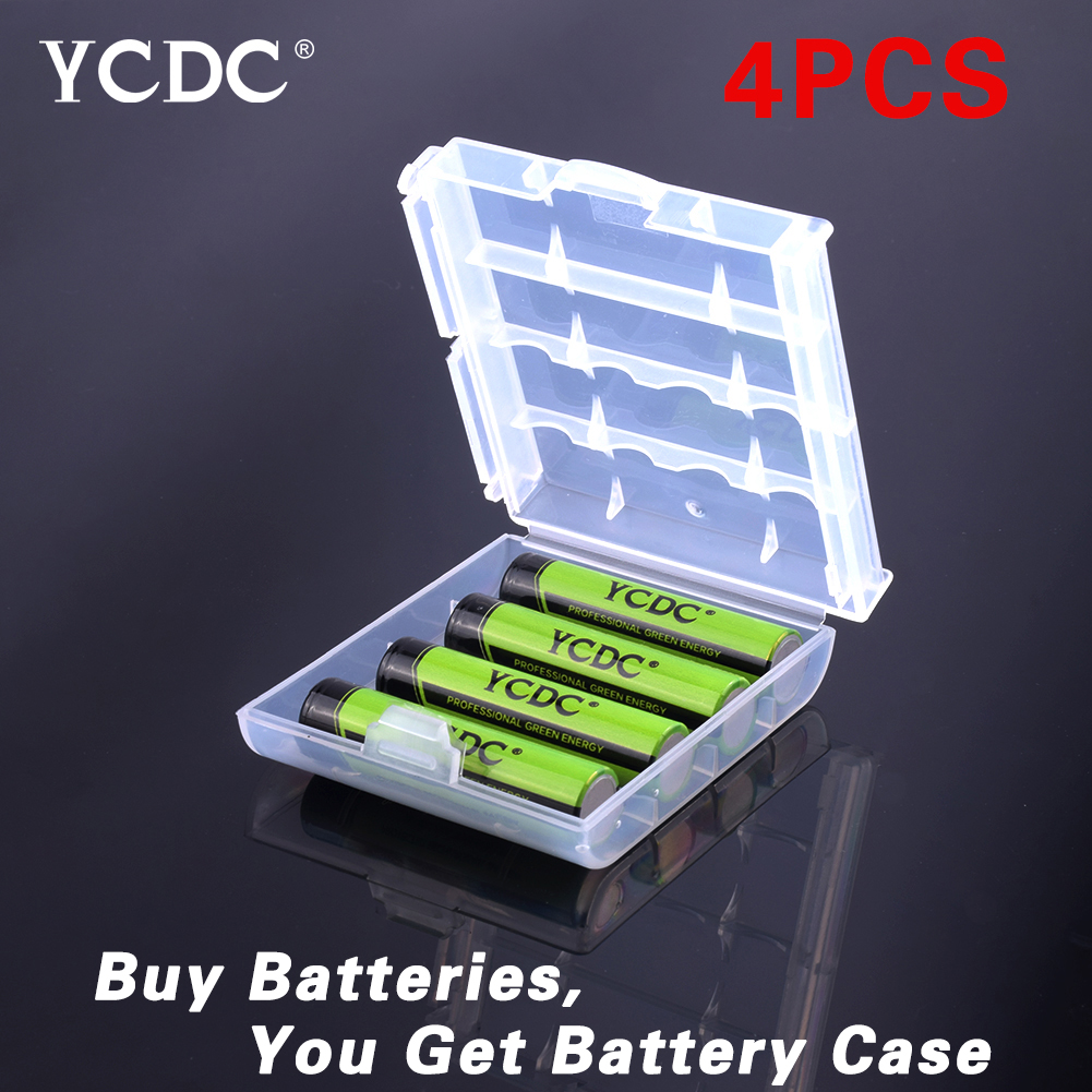 YCDC Hot! 4pcs YCDC 1.2V AAA 1000 mAh Ni-MH Rechargeable Battery With Battery Helder Box EE6344 ycdc 4pcs aa rechargeable battery 2000 mah for charger 1 2v ni mh flashlight rechargeable batteries with batery box