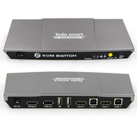 Gray High Quality 2 Port USB KVM HDMI Switch With Extra USB 2 0 Port Support