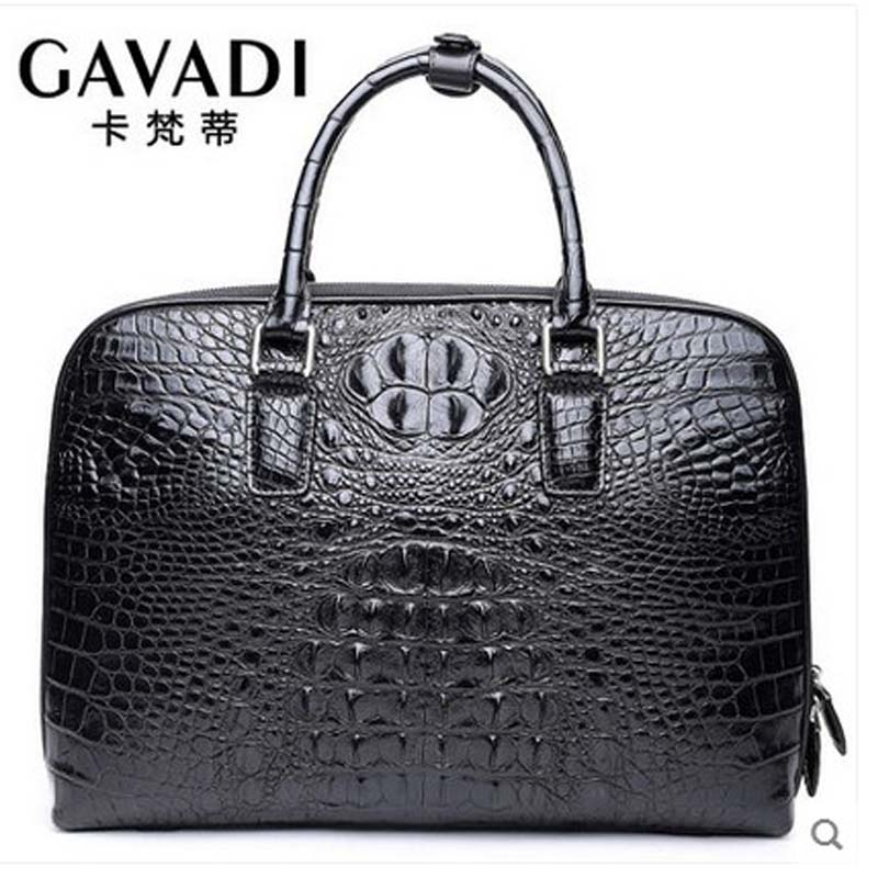 kafandi new crocodile man bag business briefcase large capacity real crocodile leather man handbag horizontal zipper male bag wire man bag small light horizontal handbag business bag male fashion portable genuine leather briefcase