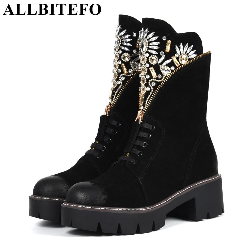 цена на ALLBITEFO new fashion brand genuine leather Rhinestone women boots new winter girls boots brand high heels ankle boots women