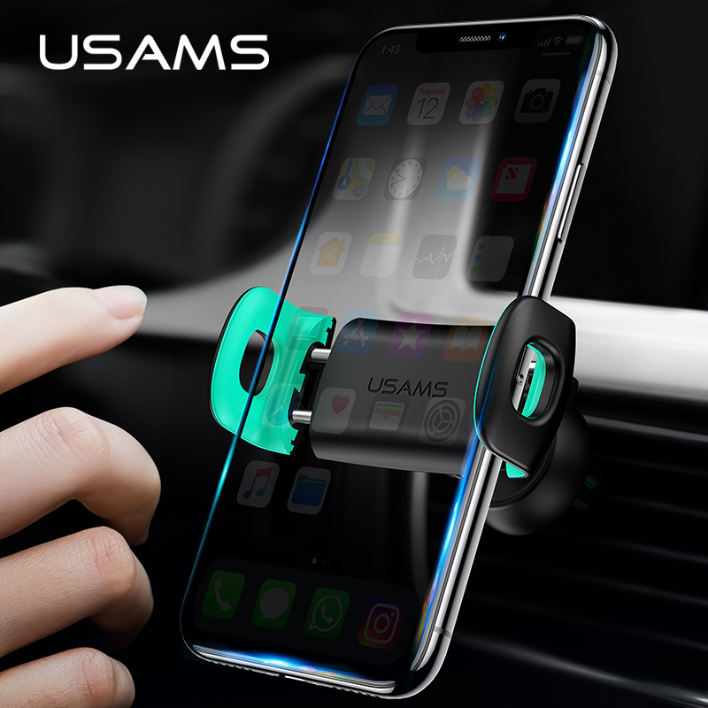 Car Phone Holder Stand,USAMS Mount Phone Holder In Car 360 Degree Air Vent Mount Elastic Stand For IPhone XS Max Car Holder