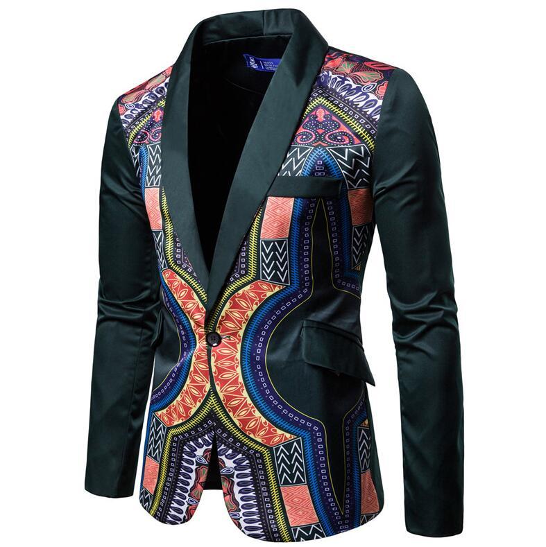 YUNCLOS мужской пиджак в национальном стиле, блейзер для свадебной вечеринки, модный вечерний пиджак с принтом, приталенный мужской пиджак с воротником-шалью - Цвет: Зеленый