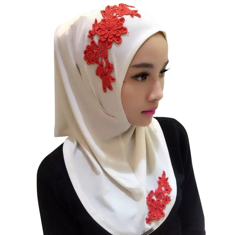 Drop Shipping Vintage Hijab Islamic  Lace Muslim Embroidery Floral Caps  Full Cover Scarf Hats 2018