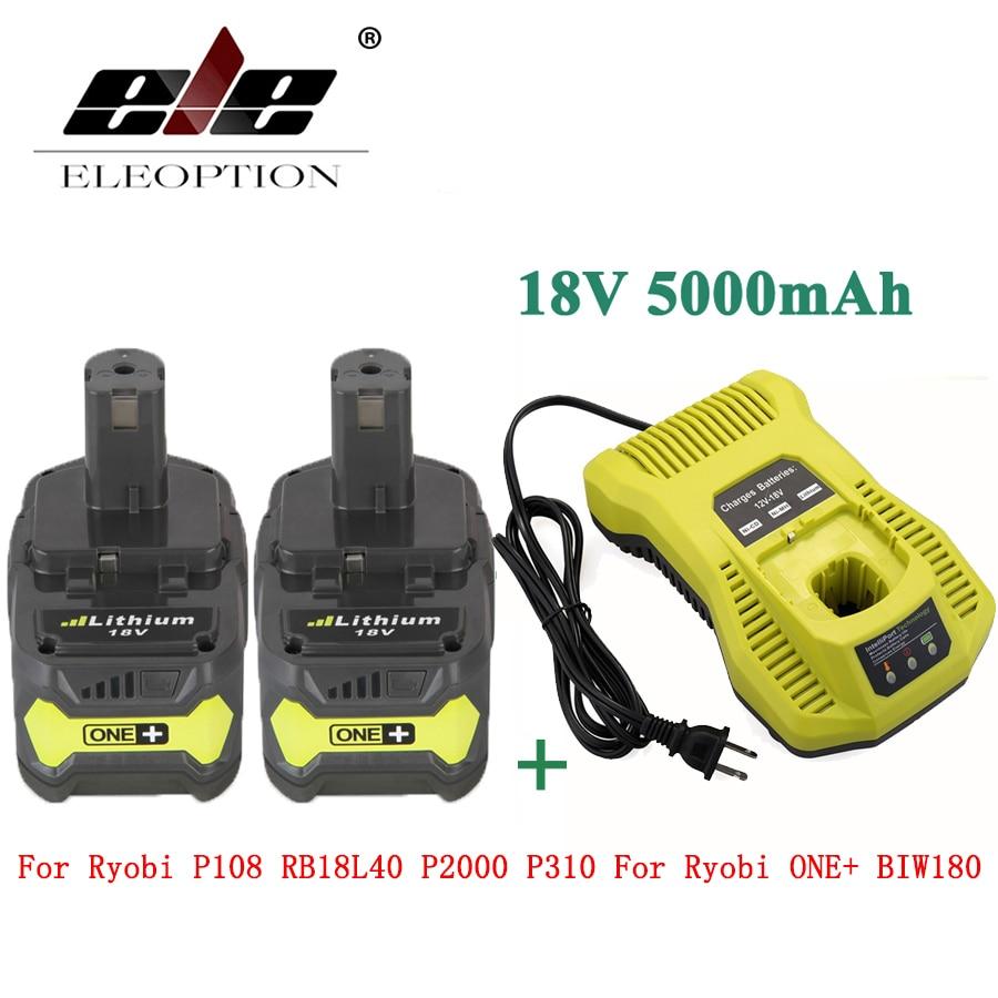 ELEOPTION 2PCS 18V 5000mAh Li-Ion Rechargeable Battery For Ryobi P108 RB18L40 P2000 P310 For Ryobi ONE+ BIW180 With Charger 3 6v 2400mah rechargeable battery pack for psp 3000 2000