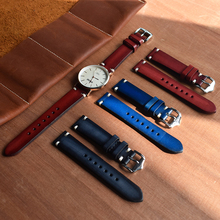 ONTHELEVEL Handmade Vintage Watchband Genuine Leather Watch Strap Red/Black/Blue Replacement Band Buckle 20mm
