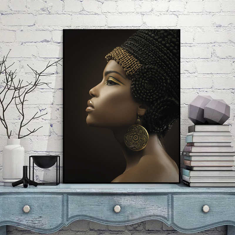 Egyptian Queen Black Women Paintings African Woman Poster Canvas Home Decor The Ancient Queen of Cush Picture Print Wall Art