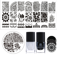 BORN PRETTY Stamping Image Plate Polish Set 6ml Black White Polish Flower Round Rectangle Stamp Template