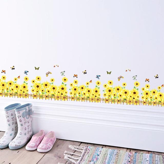 Sunflower Daisy Butterfly Wall Stickers DIY Decal Window Glass decor ...