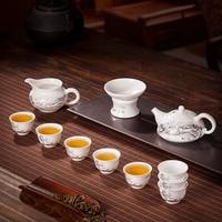 11PCS/Lot Jingdezhen Teaware Set Snow Scene Pattern Ceramic Porcelain Tea Set Drinkware / 8 Teacup+1 Fair Cup+1 Filter+1 Teapot