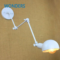 Long Arm 3 knobs Iron flexible Wall Light black/ white LOFT industrial lamp Cafe Aisle Hall Project Lamp Bedroom hotel decor