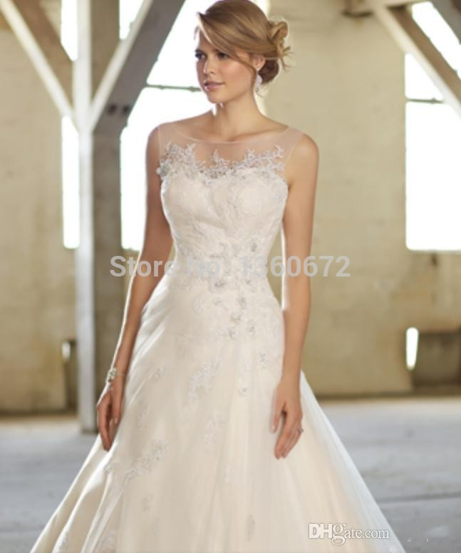 Best Selling 2014 New Illusion Scoop Neckline Wedding Dresses A line ...