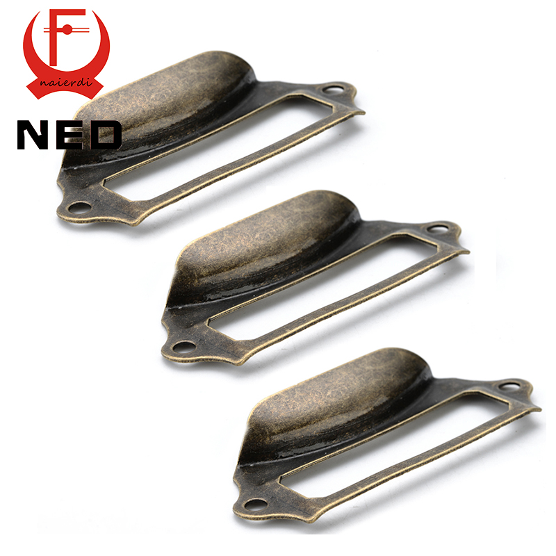 5pcs NED Antique Brass Metal Label Pull Frame Handle File Name Card Holder For Furniture Cabinet Drawer Box Case Hardware hamlet ned r