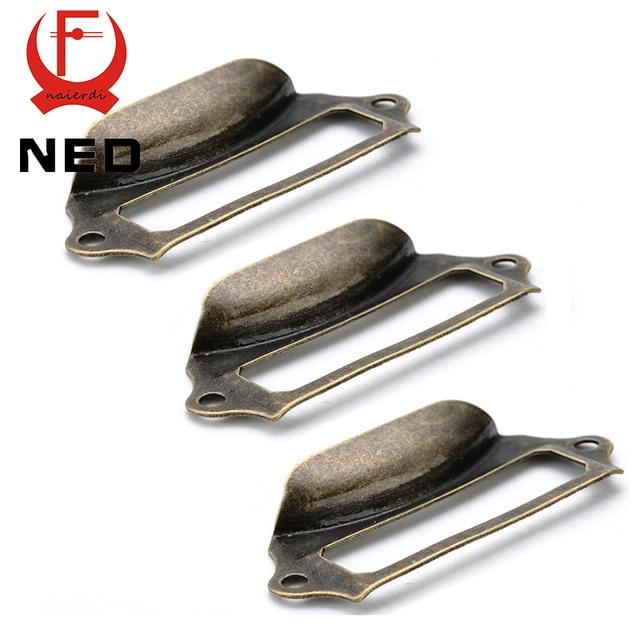 5pcs NED Antique Brass Metal Label Pull Frame Handle File Name Card Holder For Furniture Cabinet Drawer Box Case Hardware