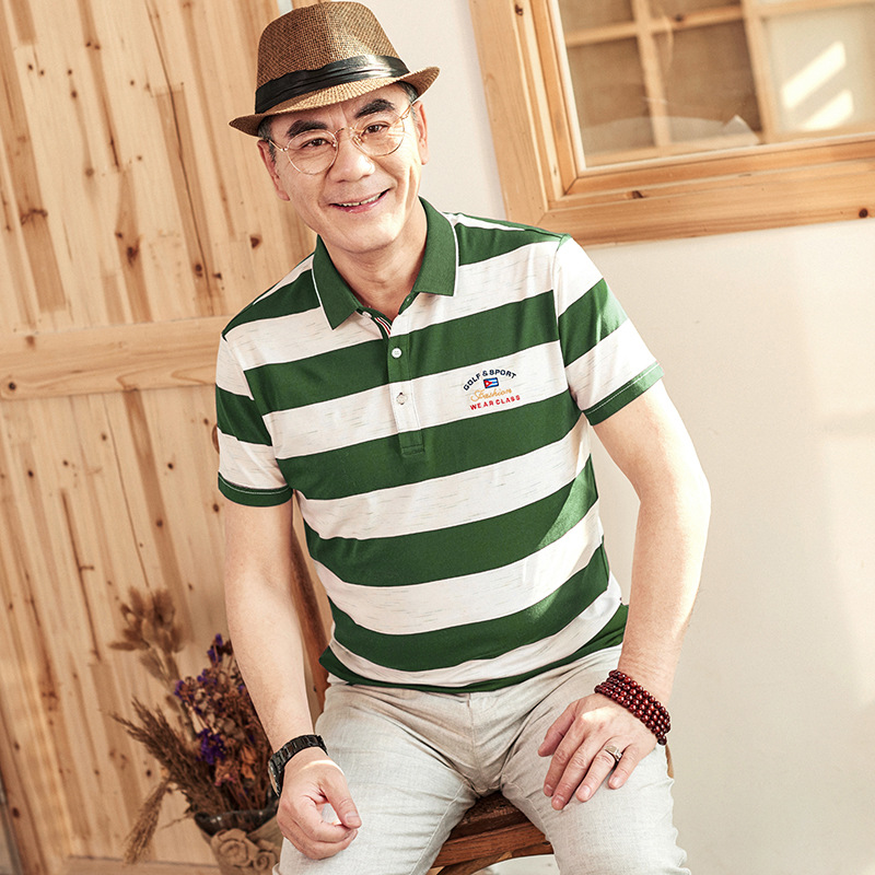 Striped t-shirt Men 2018 Fathers Day Cotton Thin Men t shirt Short Sleeve Turn-down Collar Silm Fit Smart Casual Tee shirt homme