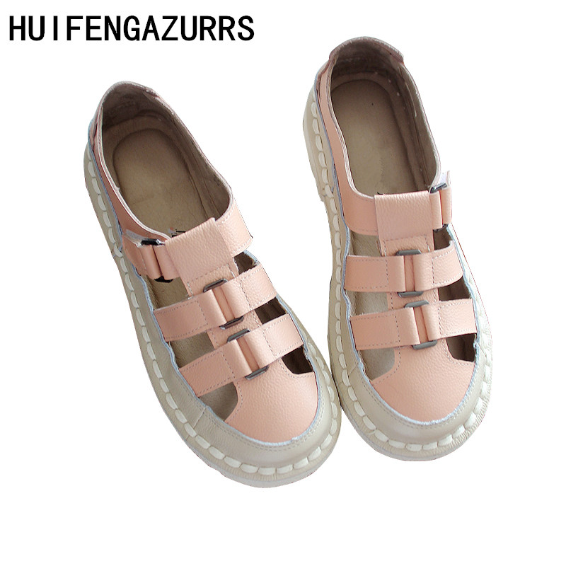 HUIFENGAZURRS Hand sewn Women s Shoes Summer New Literary Style Comfortable Flat Bottom Air permeable Sandals