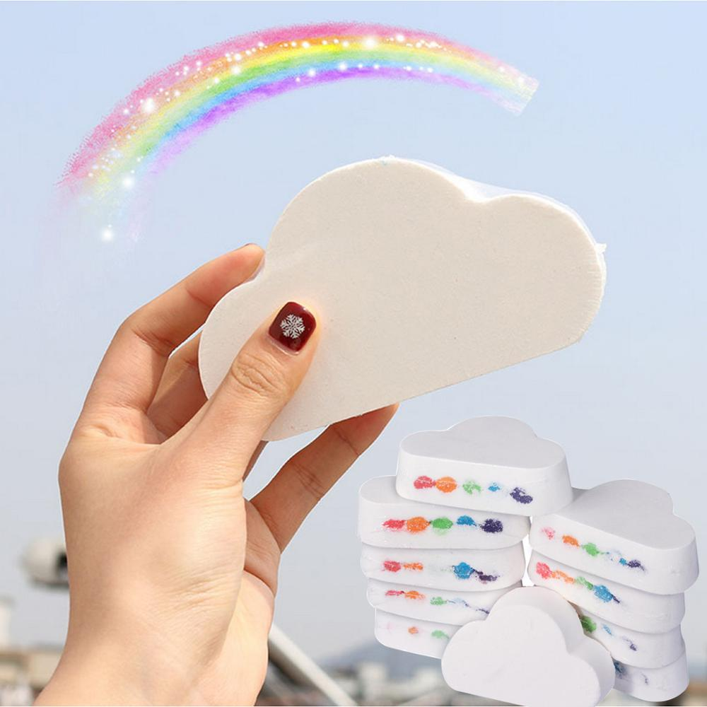 1pc Rainbow Cloud Salt Essential Oil Bathing Ball Bubble Exfoliating Moisturizing Skin Care Props Natural Bubble Bath Bombs Ball