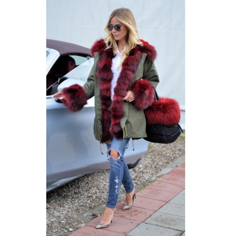 Lapin Renard De La Parka Réel Fourrure Pour Plus Manteau D'hiver Naturel Femmes Parkas Taille Col Vêtements Ckmorls Doublure Veste zaq5Cwxq