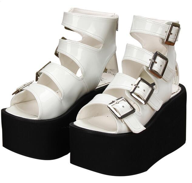Angelic imprint 새로운 모리 소녀 로리타 신발 여자 코스프레 펑크 신발 레이디 하이힐 웨지 펌프 여성 드레스 파티 샌들 10 cm-에서하이힐부터 신발 의  그룹 3