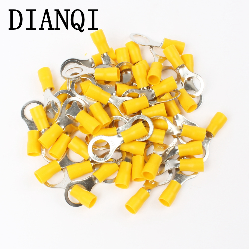 цена на DIANQI RV5.5-10 Yellow Ring insulated terminal suit 4-6mm2 Cable Wire Connector 50PCS/Pack cable Crimp Terminal RV5-10 RV