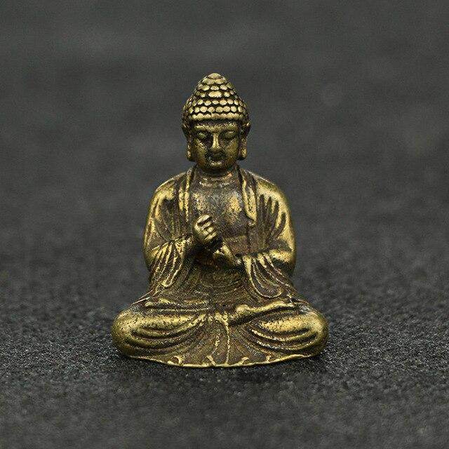 Mini Portable Retro Brass Buddha Zen Statue Pocket Sitting Buddha Hand Toy Sculpture Home Office Desk Decorative Ornament Gift 4