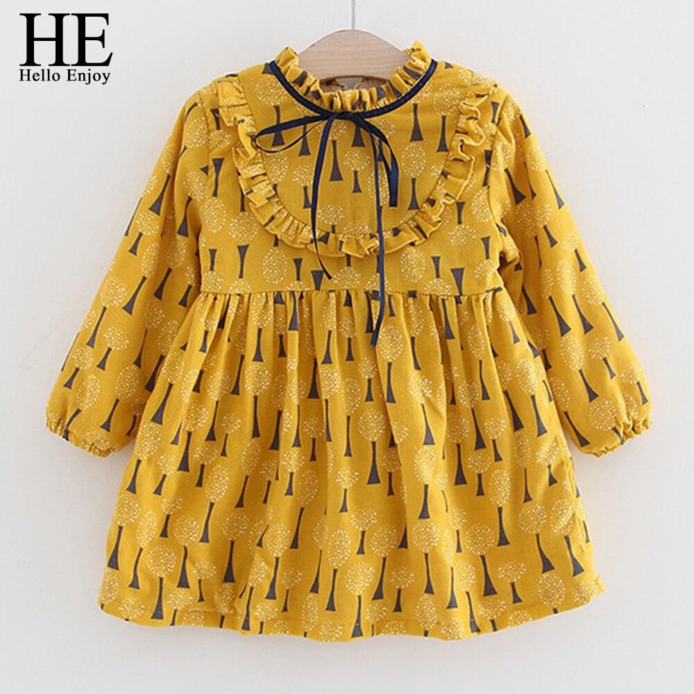 HE Hello Enjoy Toddler Girls Dresses Baby Girl Clothes 2020 Spring Bow Print Princess Party Elegant Kids Gown Dress Vestido 2-12