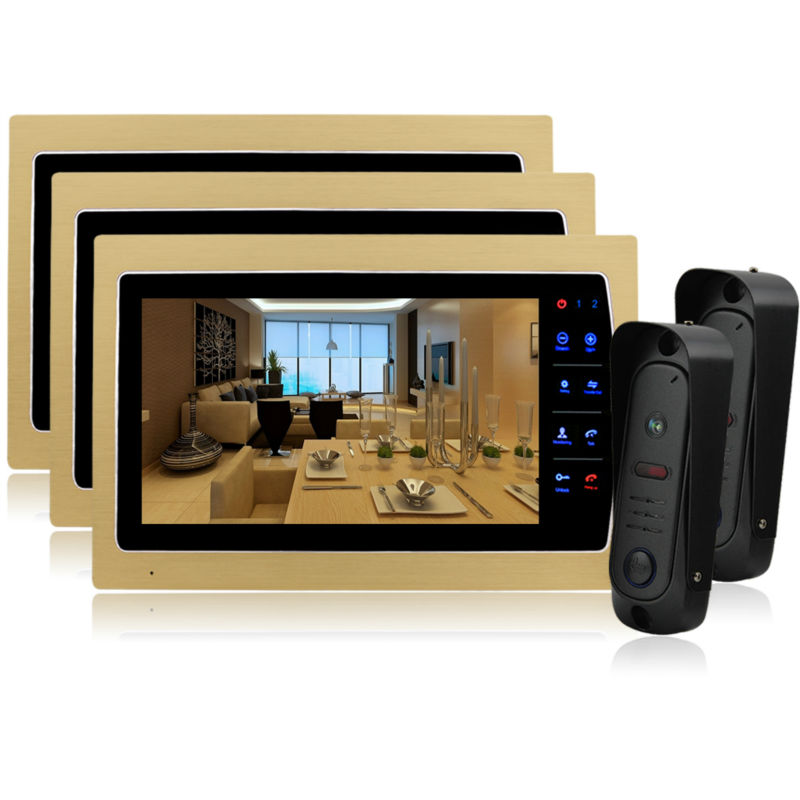 Homefong 10 TFT LCD Touch Key Intercom Doorbell System Video Door Phone Home Security Monitor support  Talking Function freeship 10 door intercom security system hands free monitor color tft lcd screen intercom system video door phone for villa