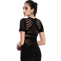 T Shirt New Athleisure Hollow Mesh Quick Drying Tops Sportes Fitness Gymming Shorting Sleeve T Shirt