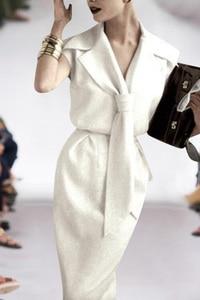 Image 5 - Vestito lungo Milan Posto di Lavoro Del Partito Del Progettista della Pista di Alta Qualità di Estate Nuove Donne Di Modo Sexy Dellannata Elegante Chic Abiti Bianchi